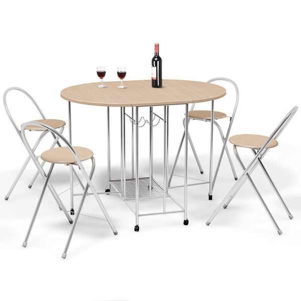 Costway 5PC Foldable Dining Set Table and 4 Chairs Breakfast Kitchen  Furniture - Wood