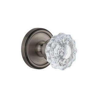 "Grandeur GEOVER_PRV_234  Georgetown Solid Brass Rose Privacy Knob Set with Versailles Crystal Knob and 2-3/4"" Backset"