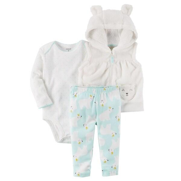5dcd3d490f8d3 Shop Carter s Baby Girls  3 Piece Polar Bear Vest Little Jacket Set ...