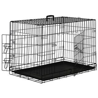 Portable Folding Metal Wire Dog Crate Cage Pet Kennel Pen - Black