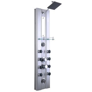 """46"""" Bathroom Aluminum Thermostatic Shower Panel with 10 Massage Jets"""