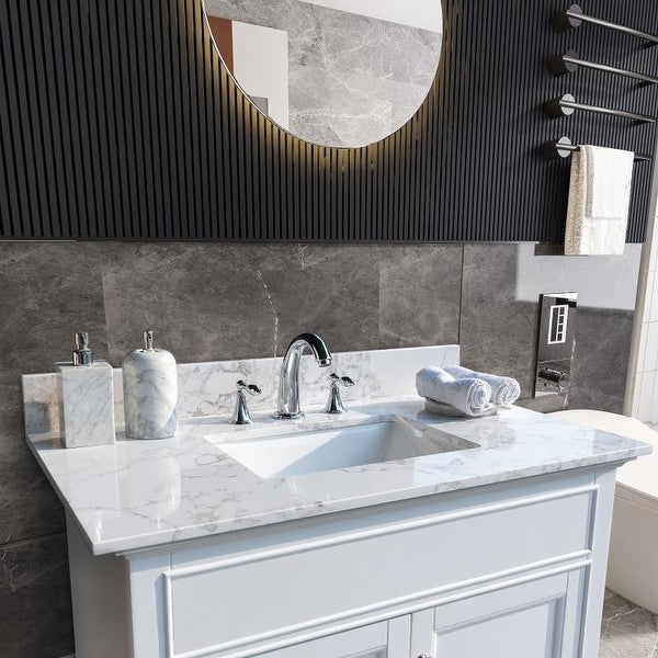 Carrara White Engineered Stone Vanity Top with Rectangle Undermount Sink. Opens flyout.