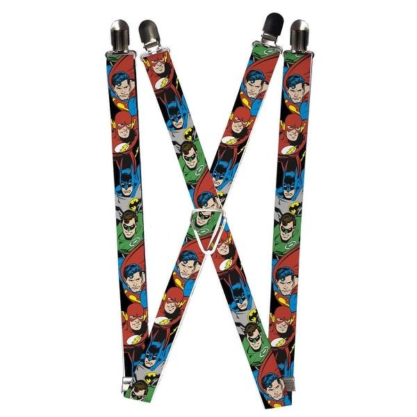 Buckle Down Men's Elastic DC Justice League Superhero Clip End Suspenders - One size