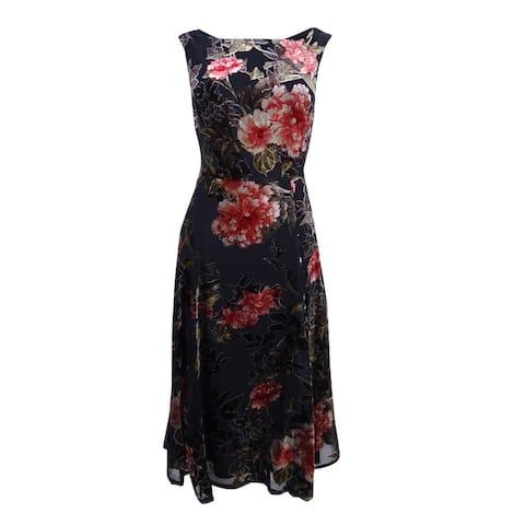 3c978a36749b1 Betsey Johnson Women's Floral Velvet Burnout Dress (6, Black/Multi) - Black