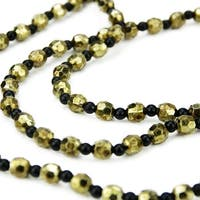"""30"""" Elegant Contemporary Style Black and Gold Beaded Christmas Garland Swag"""