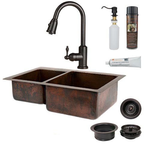 Premier Copper Products KSP2_K40DB33229 Kitchen Sink, Pull Down Faucet and Accessories Package