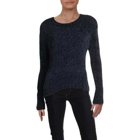 Aqua Womens Pullover Sweater Heathered Ribbed Trim - Navy - S