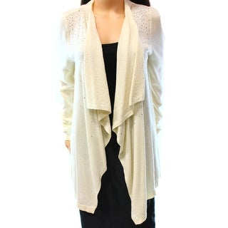 INC NEW Beige Women Large L Embellished Draped Front Cardigan Sweater