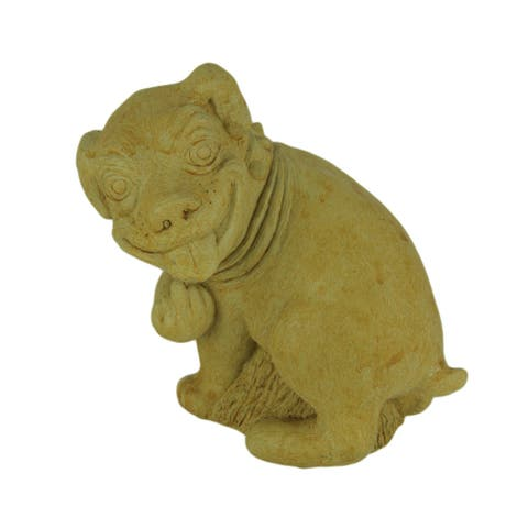Designer Stone Harvest Yellow Pooping Dog Yard or Garden Statue - 8.25 X 7.5 X 5 inches