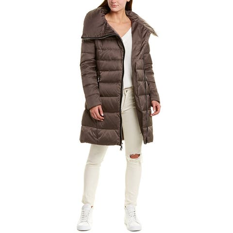 Tahari Zipped Long Down Coat