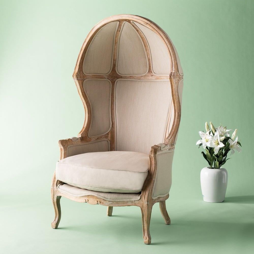 Safavieh Couture High Line Collection Sabine Oak Natural Linen Victorian Balloon Chair