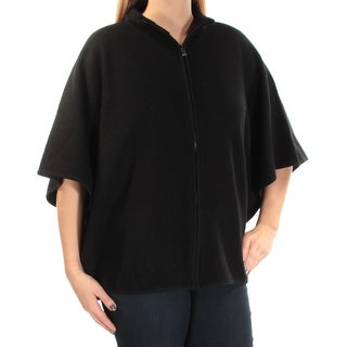 ANNE KLEIN $139 Womens New 1063 Black Zippered PONCHO Sweater L B+B