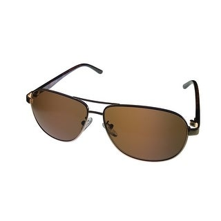 Kenneth Cole Reaction Mens Sunglass KC1266 32E Gold Metal Aviator Brown Lens - Medium