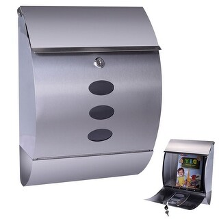Gymax Wall Mount Mail Box Stainless Steel - Metallic