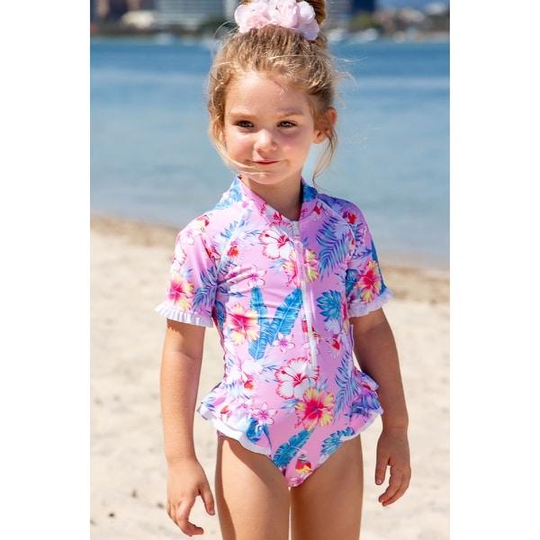 Sun Emporium Paradise Print Frill Short Sleeve Swim Suit Baby Girls. Opens flyout.