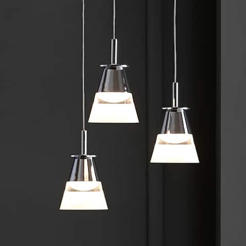 "Alain 13"" 3-Light Adjustable Integrated Pendant, Chrome by JONATHAN Y"