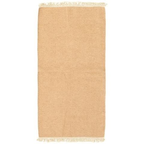 ECARPETGALLERY Flat-weave Kalista Tan Wool Kilim - 2'4 x 4'8