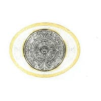 Crumrine Western Belt Buckle Aztec Calendar Antique Silver Gold - 4 x 3