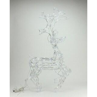 "34"" LED Lighted Standing Buck Deer Spun Glass Christmas Yard Art Decoration - Polar White Lights"