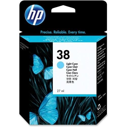 HP 38 Light Cyan Pigment Original Ink Cartridge (C9418A) (Single Pack)