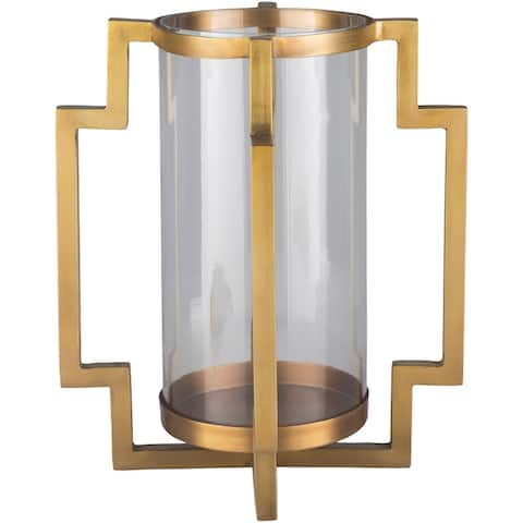 "Sommer Gold Glass Modern 13.5"" Candle Holder"