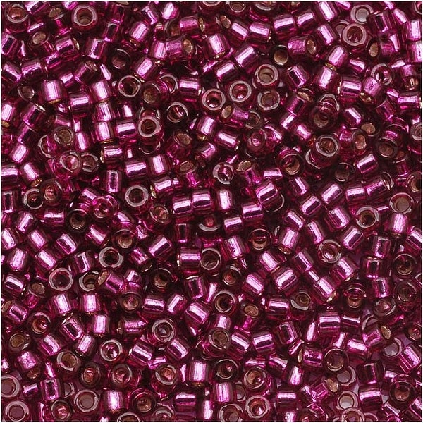 Miyuki Delica Seed Beads 11/0 - Silver Lined Dark Rose DB1342 - 7.2 Grams