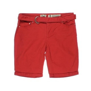 Indigo Rein Womens Juniors Forever Twill Flat Front Bermuda Shorts - 15