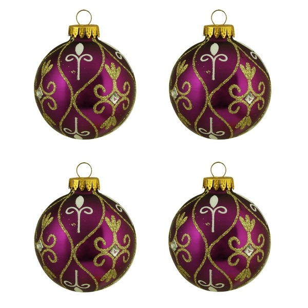"4ct Magenta Purple with Gold Glitter Swirl Design Glass Ball Christmas Ornaments 2.5"" (65mm)"