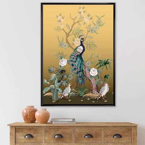 Designart 'Chinoiserie With Birds and Peonies VI' Traditional Framed Canvas Wall Art Print