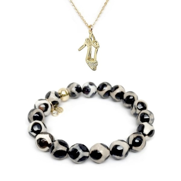 "Black & White Agate 7"" Bracelet & CZ Stiletto Gold Charm Necklace Set"