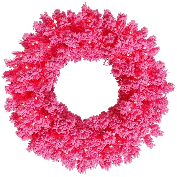 "30"" Flocked Pink Fir Wreath 70Pk 180T"