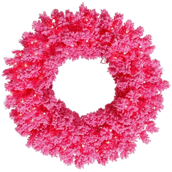 "30"" Flocked Pink Wreath DuraL LED 100Pk"