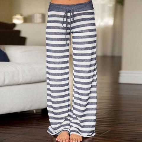 High Waist Wide Leg Pants Women Sweatpants Lounge Palazzo Trousers Loose Striped Pantalon Mujer Femme Long Pants