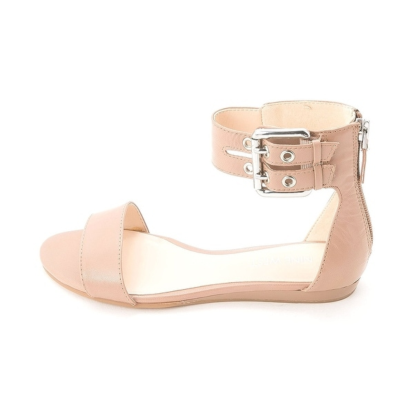 Nine West Womens Tanlines Leather Open Toe Casual Ankle Strap Sandals