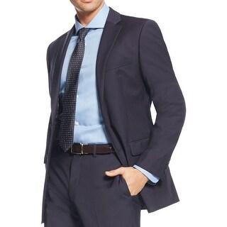 Calvin Klein Mens Two-Button Blazer Wool Blend Slim Fit