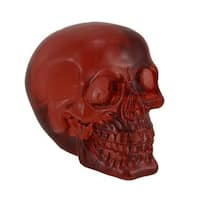 Clear Red Translucent Grinning Human Skull Statue 6 inch