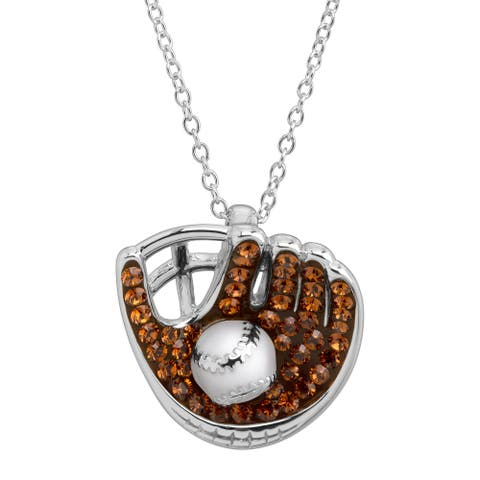 Crystaluxe Baseball & Glove Pendant with Crystals in Sterling Silver - Brown