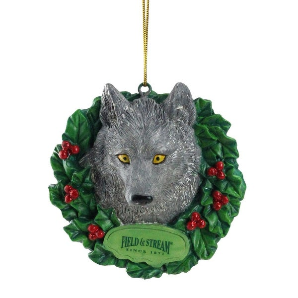 "3"" Field & Stream Wolf In Wreath Christmas Ornament"