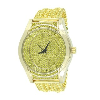 Yellow Gold Tone Watch Canary Lab Diamonds Iced Tray Band Hip Hop Custom