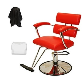 LCL Beauty Plus Line Extra Large Steel Reinforced Hydraulic Lift Red Styling Chair