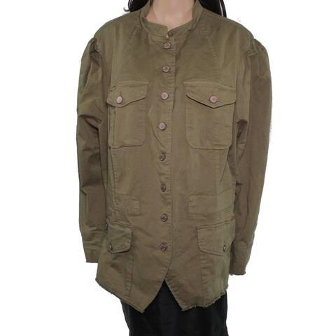 William Rast Women's Jacket Olive Green Size 1X Plus Cargo Button Down