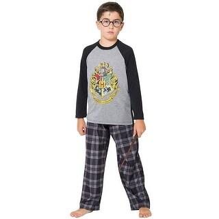 Intimo Big Boys' Harry Potter Hogwarts School Crest Raglan Pajama Set