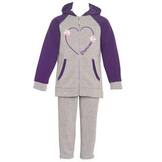 Littoe Potatoes Little Girls Grey Purple Heart 2 Pc Fleece Pant Set