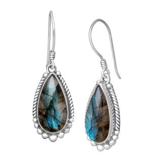 Sajen Natural Labradorite Drop Earrings in Sterling Silver - Green