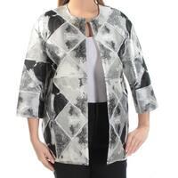 ANNE KLEIN Womens Silver Geometric Suit Wear To Work Jacket  Size: 8