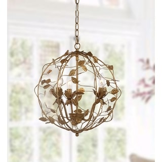 "Link to Safavieh Lighting Austen Adjustable 3-light LED Gold Leaf Cage Chandelier - 17"" x 17"" x 20.75-92.75"" Similar Items in Chandeliers"