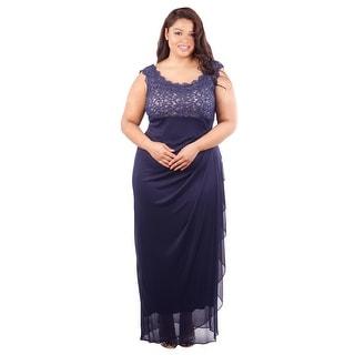 Chiffon Gown Metallic Lace Bodice