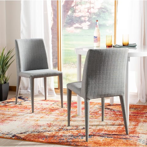 Safavieh Dining Mid-Century Garretson Linen Grey Dining Chairs (Set of 2)