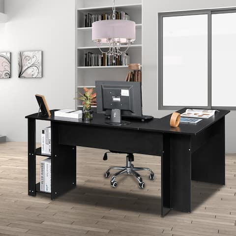 L-Shaped Wood Right-angle Computer Desk with Two-layer Bookshelves