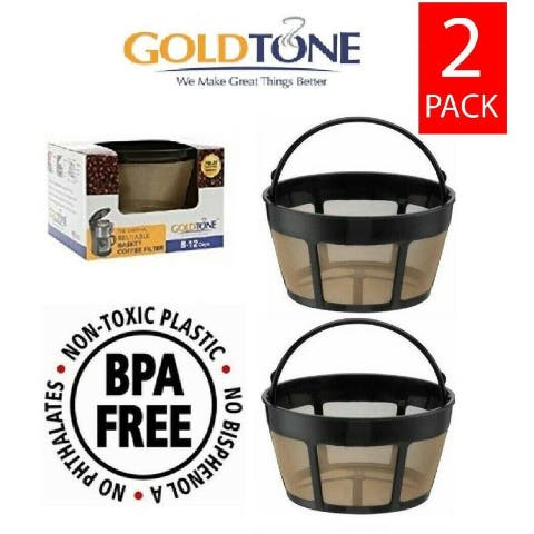 GoldTone Reusable 8-12 Cup Basket Filter Replacement Fits ALL Hamilton Beach Coffee Machines and Brewers, BPA Free (2 Pack)